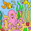 Big octopus in the sea coloring