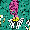 Butterfly and daisies coloring
