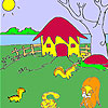 Cute hut and animals coloring