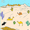 Desert and camels coloring