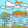 Deserted island and ships coloring