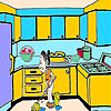 Housewife in the kitchen coloring
