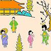 Japanese garden coloring