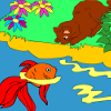 Kid's coloring: Funny fishing