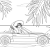 Kid's coloring: Girl and car