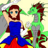 Kid's coloring: The girl and her dragon