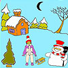 Moon and the snowman coloring