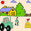 The farmer and the tractor coloring